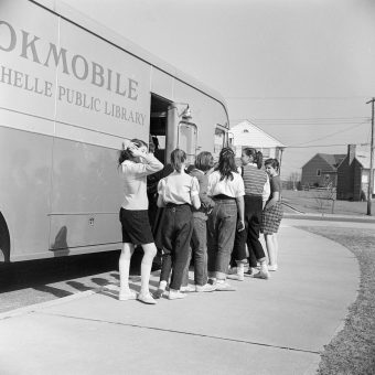 A Bookmobile Library Rolls Into New Rochelle (1955)
