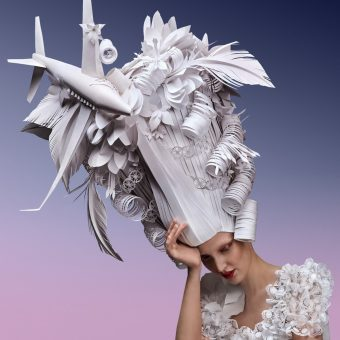 Baroque Wigs In Paper Topped With Modern Objects Of Desire